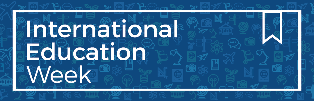 international education week logo with global icons